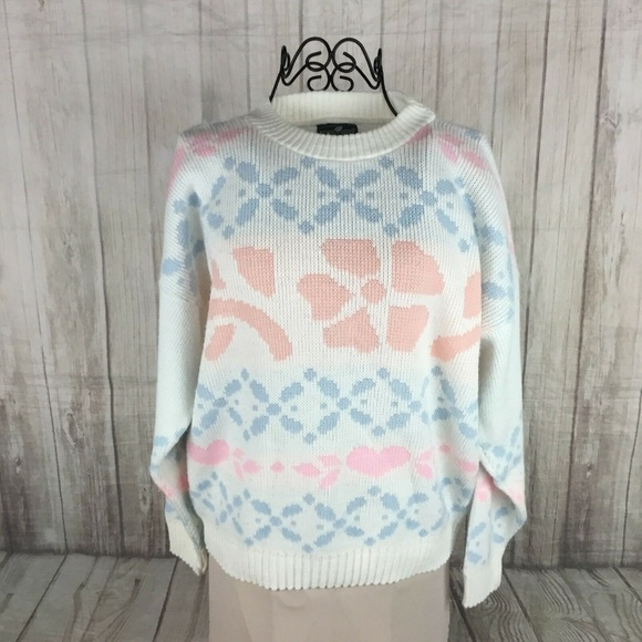 Cabin Creek Sweaters - Vintage 80's Women's Pastel Pink Blue Sweater USA